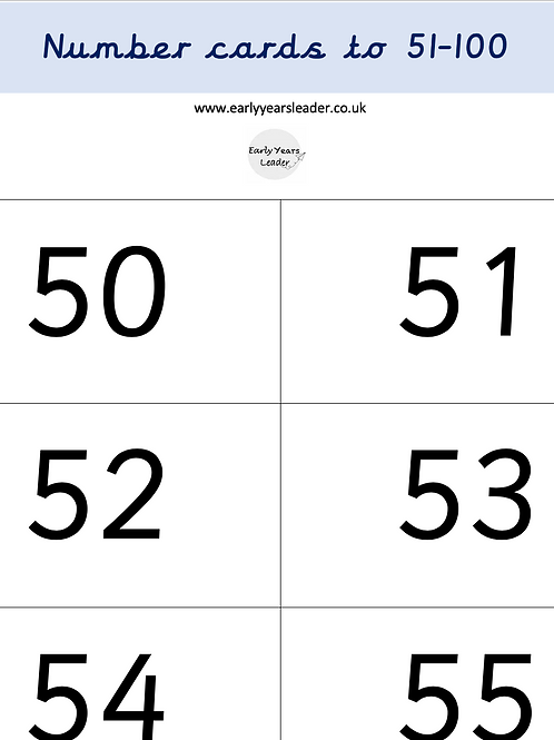 Numbers 51 - 100 on White Card