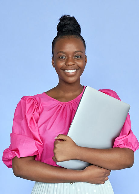 Smiling young african black ethnic woman