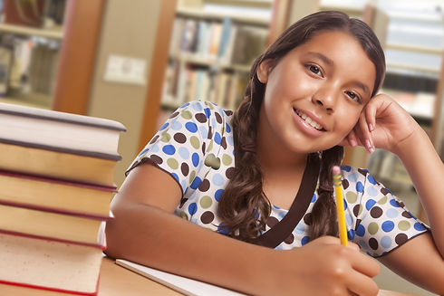 Happy Hispanic Girl Student with Pencil