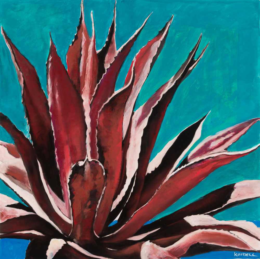 """Marfa Agave"" I Red on Blue"