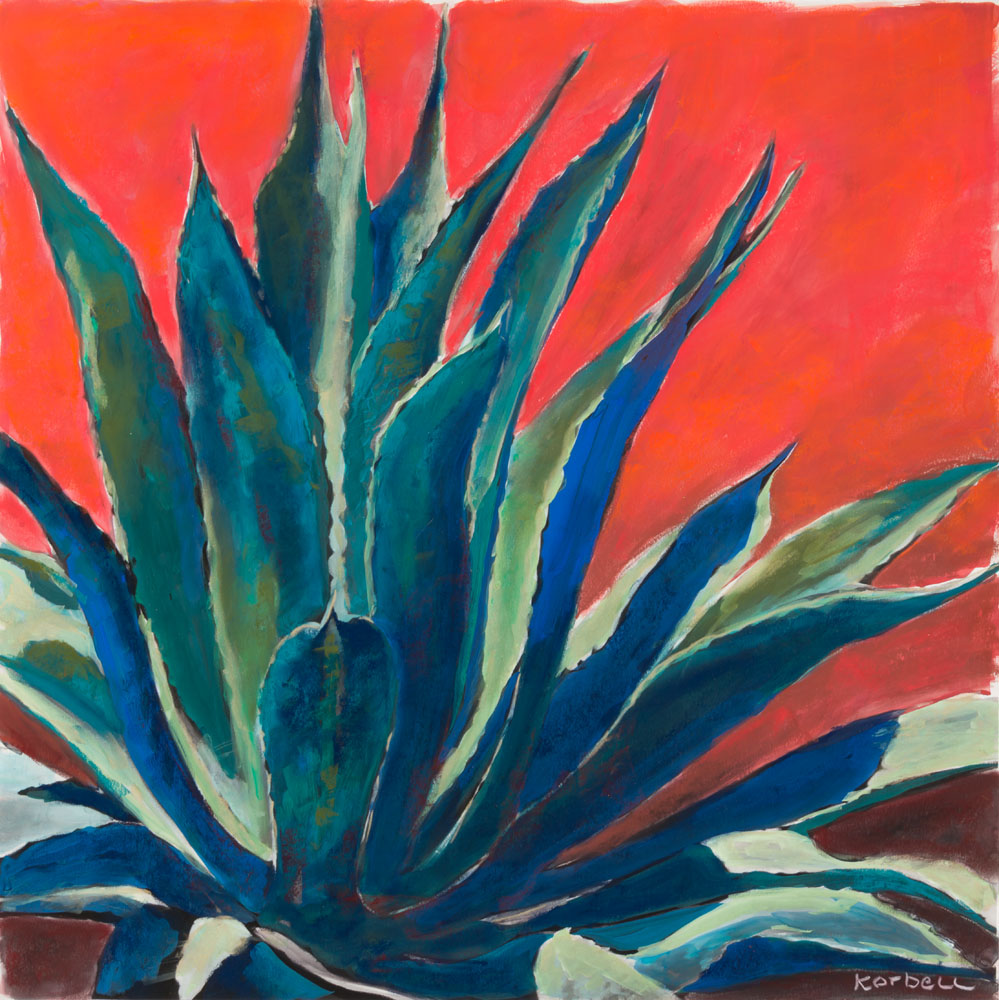 """Marfa Agave"" I Blue on Pink"
