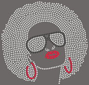 Afro Woman with Glasses Filled RHINESTON