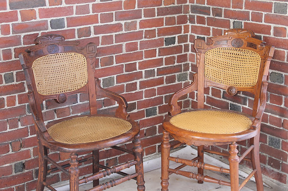 Cane Seat Chairs Set of 2