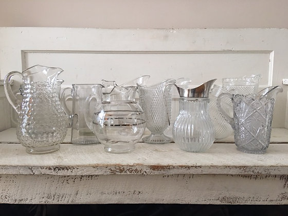 Vintage Glass Pitchers Set of 12
