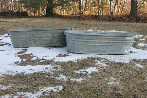 Huge Vintage Galvanized Tubs Set of 2