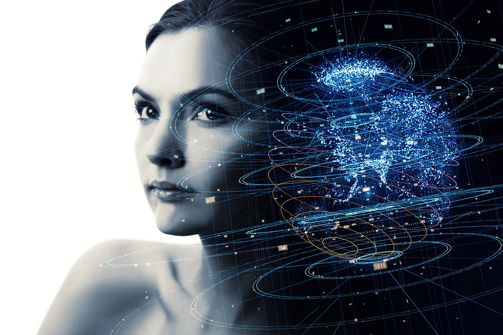 Portrait of beautiful woman and global communication network concept. AI(Artificial Intell