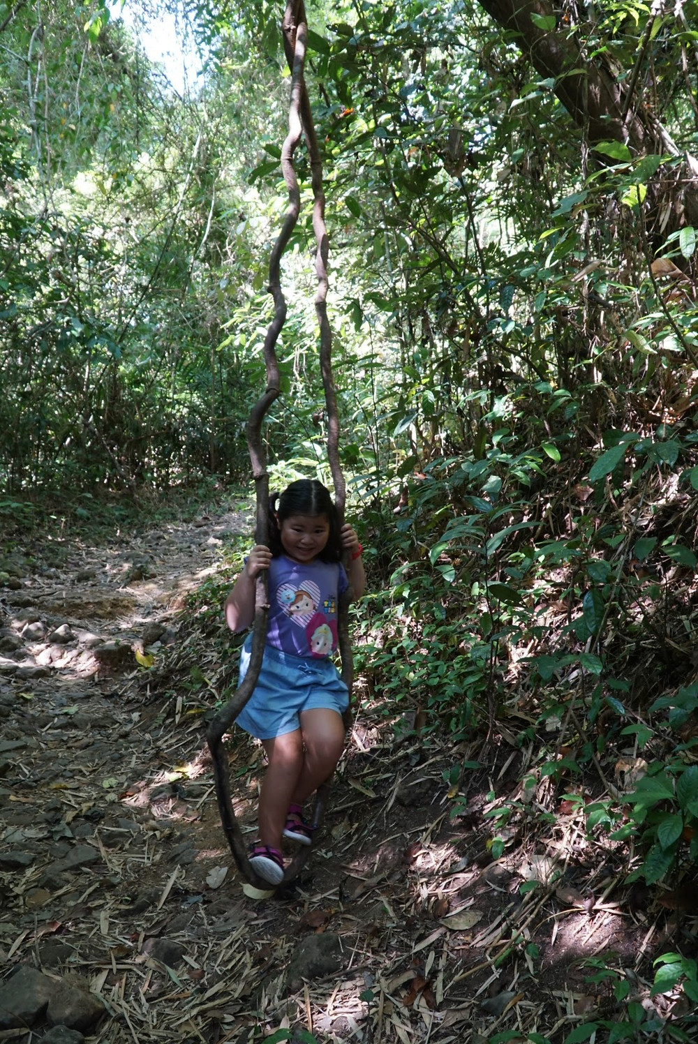 Girl of Aguiventures swinging on vine at Mount Makiling
