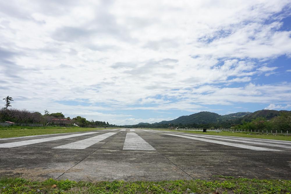 Romblon Tugdan airport runway view with beautiful blue sky