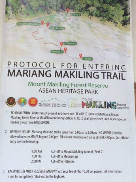 Protocol for Entering Mount Makiling Trail