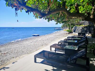 Lounge chairs at beach in Anilao Batangas