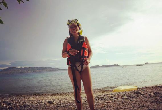 Woman in snorkeling gear