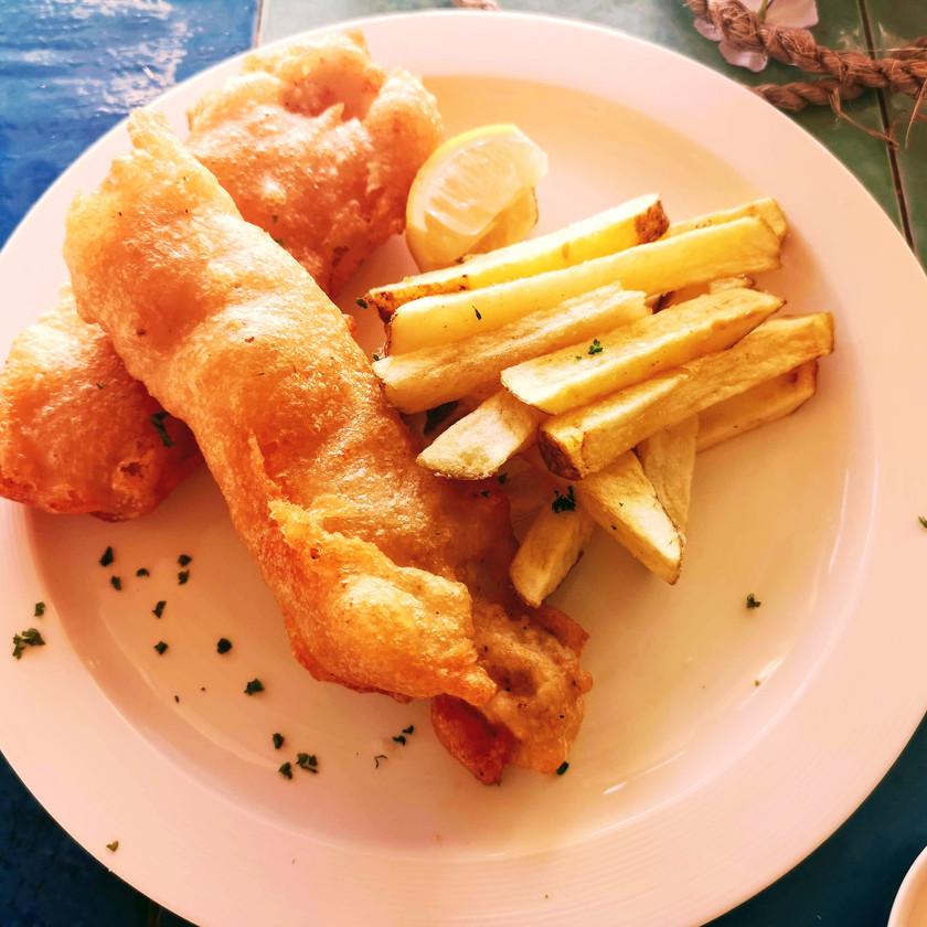 fish and chips food shot