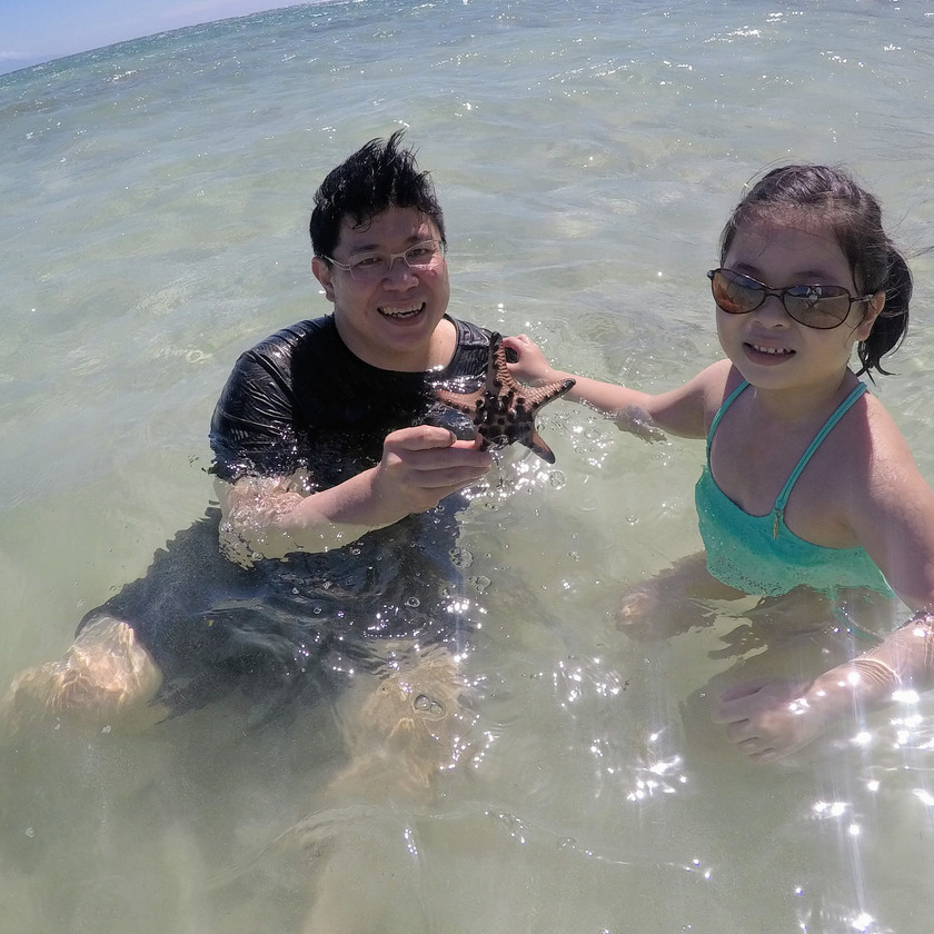 Daddy and daughter find chocolate chip starfish at Aglicay beach in Romblon