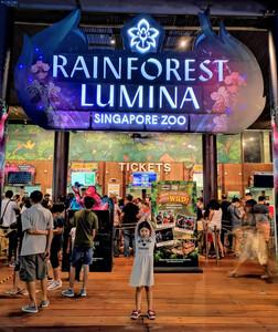 Little girl at Rainforest Lumina Singapore Zoo entrance