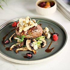 Beef tenderloin and mushrooms
