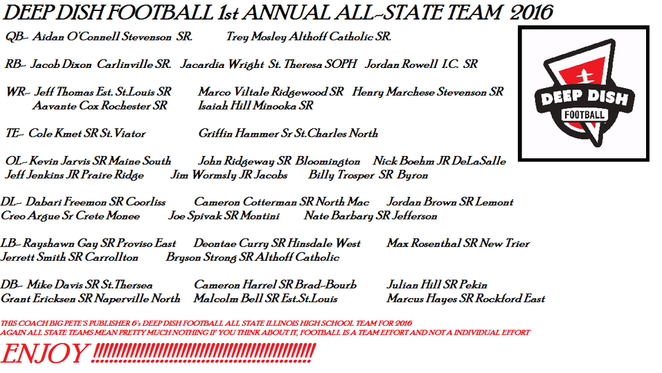 Deep Dish Football's First Annual All State Team for 2016 Illinois