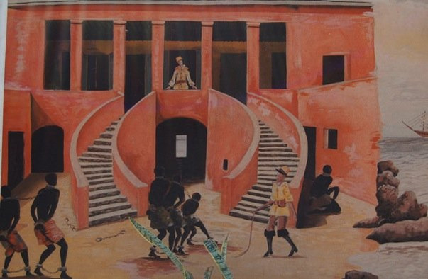 a painting depicting a scene during the slave trade at the House of Slaves