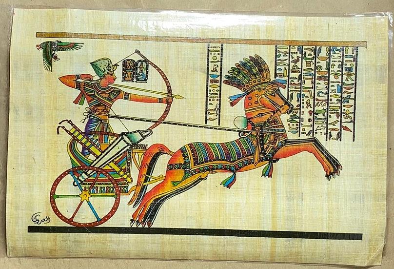 Papiro Egípcio contemporâneo representando Ramses II na Batalha de Kadesh