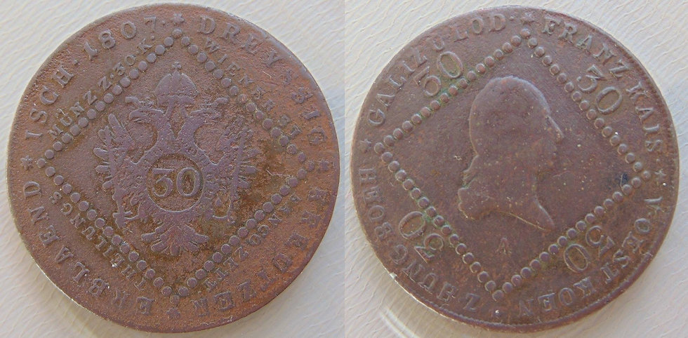 30 Kreuzer Áustria- 1807