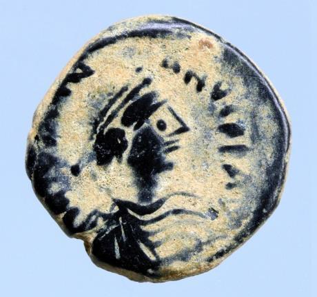 Moeda Bizantina JUSTINIAN I. 527-565 AD. Æ Pentanummium (2.28 gm; 14mm).