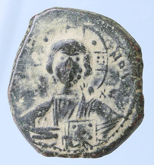 Moeda Bizantina  Follis Anônimo com Cristo (época de Romanus III - 1028