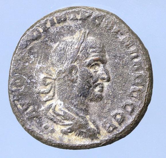 Trebonianus Gallus Tetradracma de Antioquia, Síria. 214/5 dC