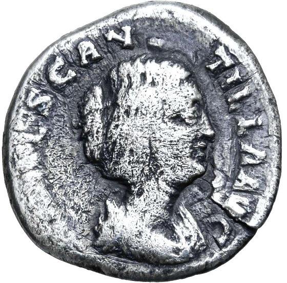 Moeda Raríssima Denário de Manlia Scantilla (esposa de D. Julianus), Roma, 193 d
