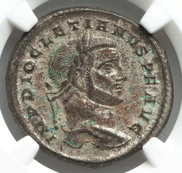 Moeda Romana Diocletian, 284-305. Follis, Aquileia, 299. Ngc