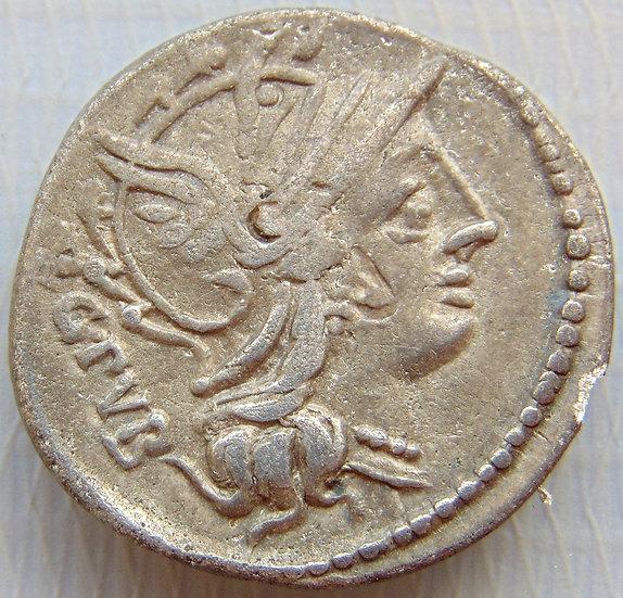 Moeda Romana Denário Republicano de L. Sentius 101aC