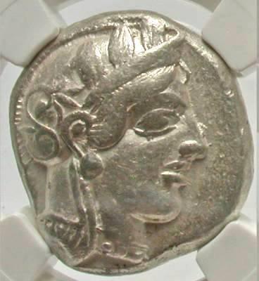 Moeda Grega Tetradracma da Attica Atenas - 440-404 aC.