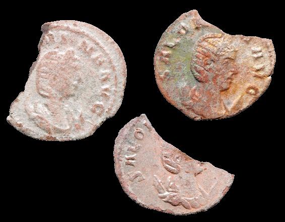 Três Fragmentos de Moedas romanas Antoniniano de Prata Bl de Salonina (254-268 d