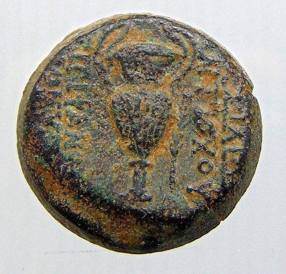 Moeda grega de Antiochus VI Dionysos 145-142 BC