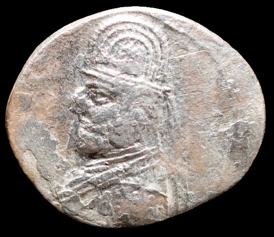 Moeda Grega dracma do Reino Parta Mithradates III (87-79 aC).