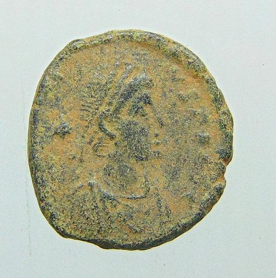 Moeda Romana de Arcádio 406-408dC com reverso dos três imperadores