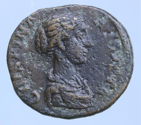 Moeda Romana Ae As Crispina  - Draped bust right / LAETITIA Laetitia standing le