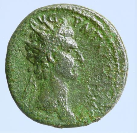 Moeda romana de Nerva Æ As. Rome, 96-98 dC