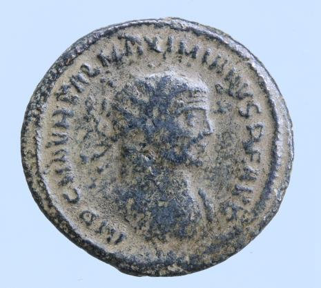 Moeda Romana Maximian Æ Post-Reform Radiate. Cyzicus, AD 295-299.