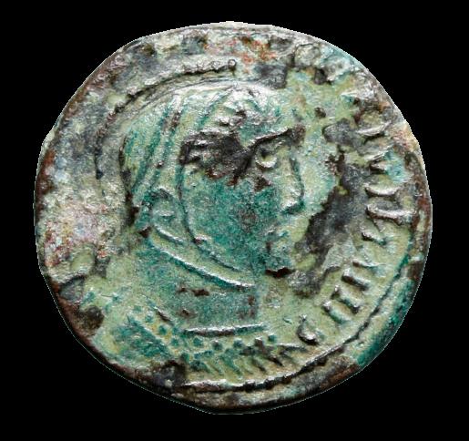 Moeda romana rara cunhagem étnica (bárbara), imitando Constantino I (400 a 555 d