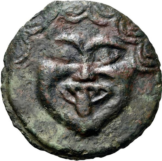 Moeda Grega RARA Obol AE da Olbia com Górgona 500 aC