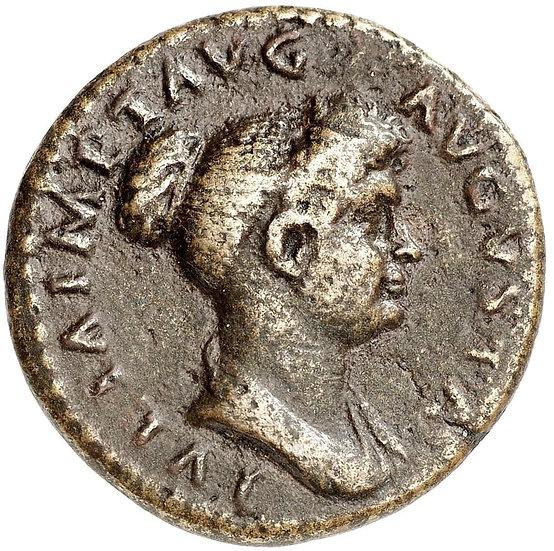 Moeda Romana Raríssima Dupôndio de Julia Titi (filha de Tito) (79-81 dC).