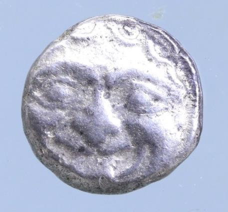 Moeda Grega Mysia, Parion AR Drachm. 5th C. BC. Gorgoneion