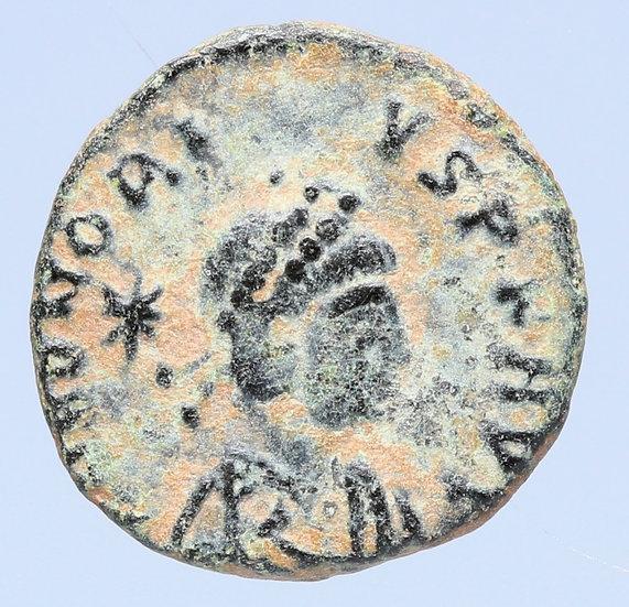Moeda romana escassa de Honorius (406-408 dC)