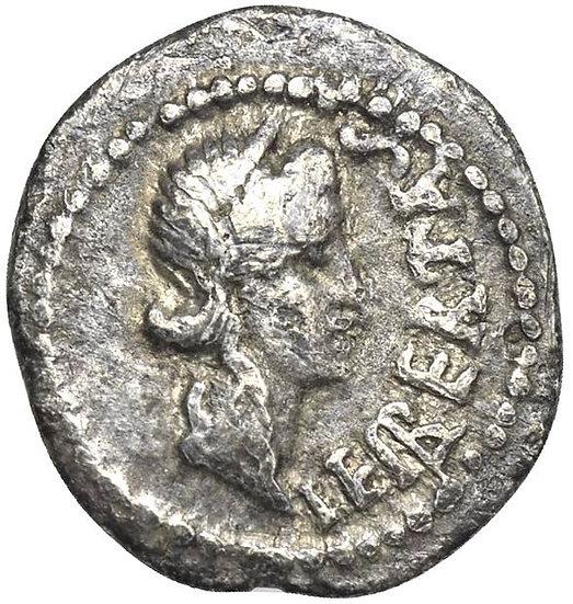 Romana de Brutus cunhada após assassinar Júlio César, em fuga com Cassius (42aC)