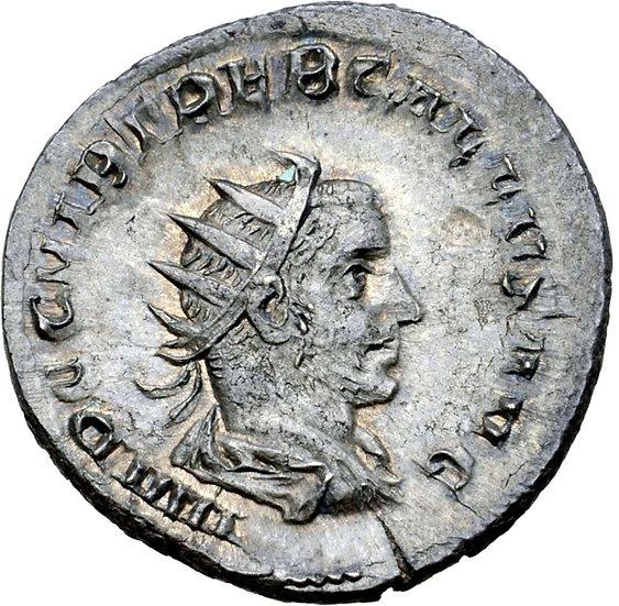 Moeda Romana Antoniniano Escasso de Trebonianus Gallus (252-253 dC).