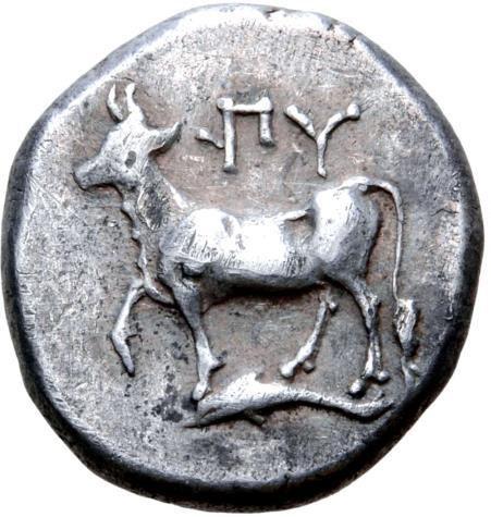 Moeda Grega Thrace, Byzantion AR Siglos or Drachm. Circa 340-320 BC