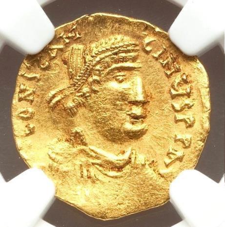 Moeda Bizantina Constantine IV Pogonatus (AD 668-685). AV tremissis