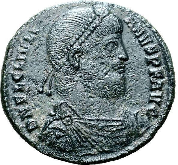 Moeda romana escassa de Julian II Æ Double Maiorina. Tessalônica, 360-3