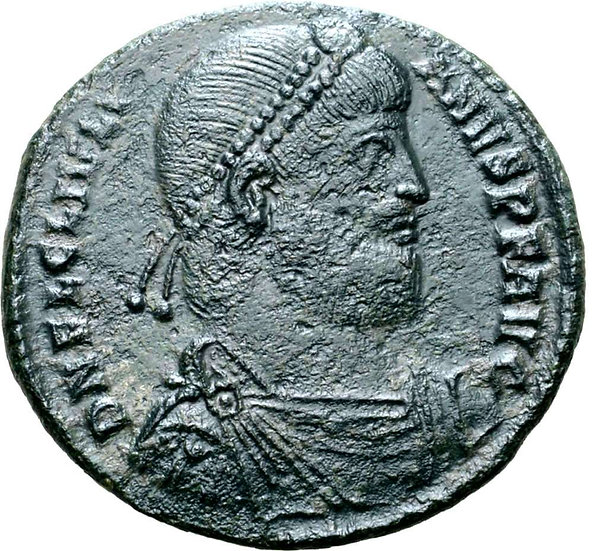 Moeda romana escassa de Julian II Æ Double Maiorina. Tessalônica, 360-363 DC.