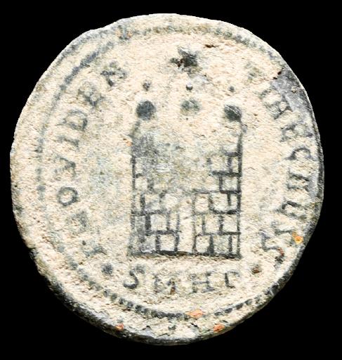 Moeda Romana de Constantius II (328-329 dC).