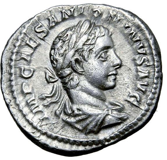 Moeda Romana Denário Escasso de Elagabalus (218-222 dC).